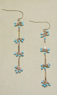 gold & turquoise Bamboo earring (E118) - Bamboo - viv&ingrid :  vivandingrid shoulder dusters earrings jewelry